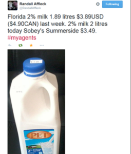 Price of milk in Florida vs Prince Edward Island
